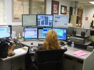 A dispatcher transitions to the new MCC 7500 console at BCSO